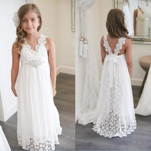 Boho V Neck Chiffon & Lace Formal Flower Girl Dress
