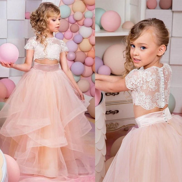 Two Pieces Ball Gown Flower Girl Dress