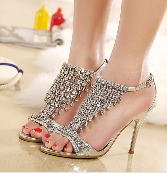 Rhinestone Ankle Strap High Heeled Wedding Sandals  :: Available in Silver and Gold