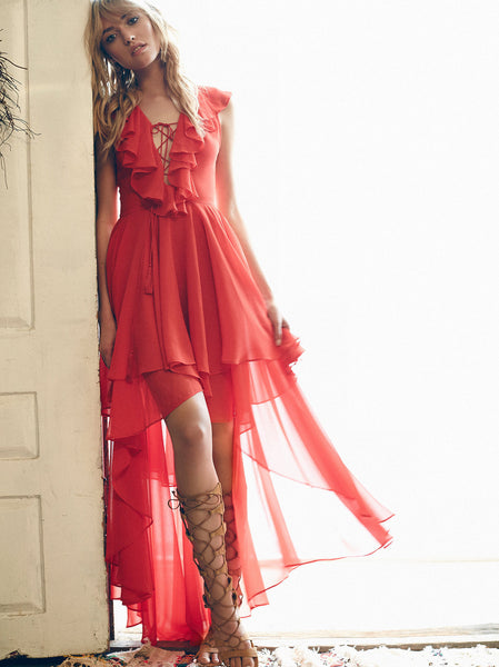 Sexy Boho Ruffled Long in Back Maxi Dress