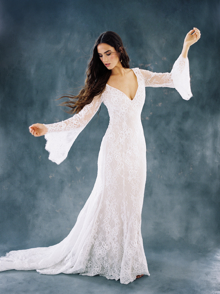 Bohemian Autumn Lace Fantasy Bat Sleeve Wedding Dress – The Faded ...