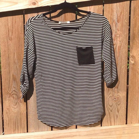 Black and White Striped Quarter Sleeve