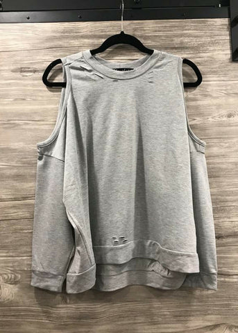 Cold Shoulder Distressed Sweatshirt