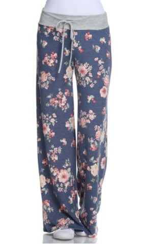 Blue Floral Sweatpants