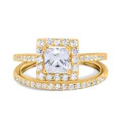 Two Piece Halo Ring Band Bridal Set Princess Cut Round Simulated Cubic Zirconia 925 Sterling Silver