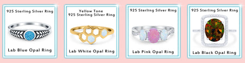 925 Sterling Silver Lab Created Opal Rings