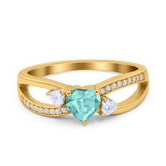 Heart Art Deco Engagement Promise Ring Simulated Cubic Zirconia 925 Sterling Silver