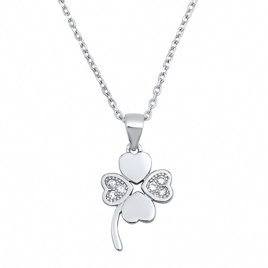 halo four rose products gold silver jaz plated sterling leaf j clover cz necklace