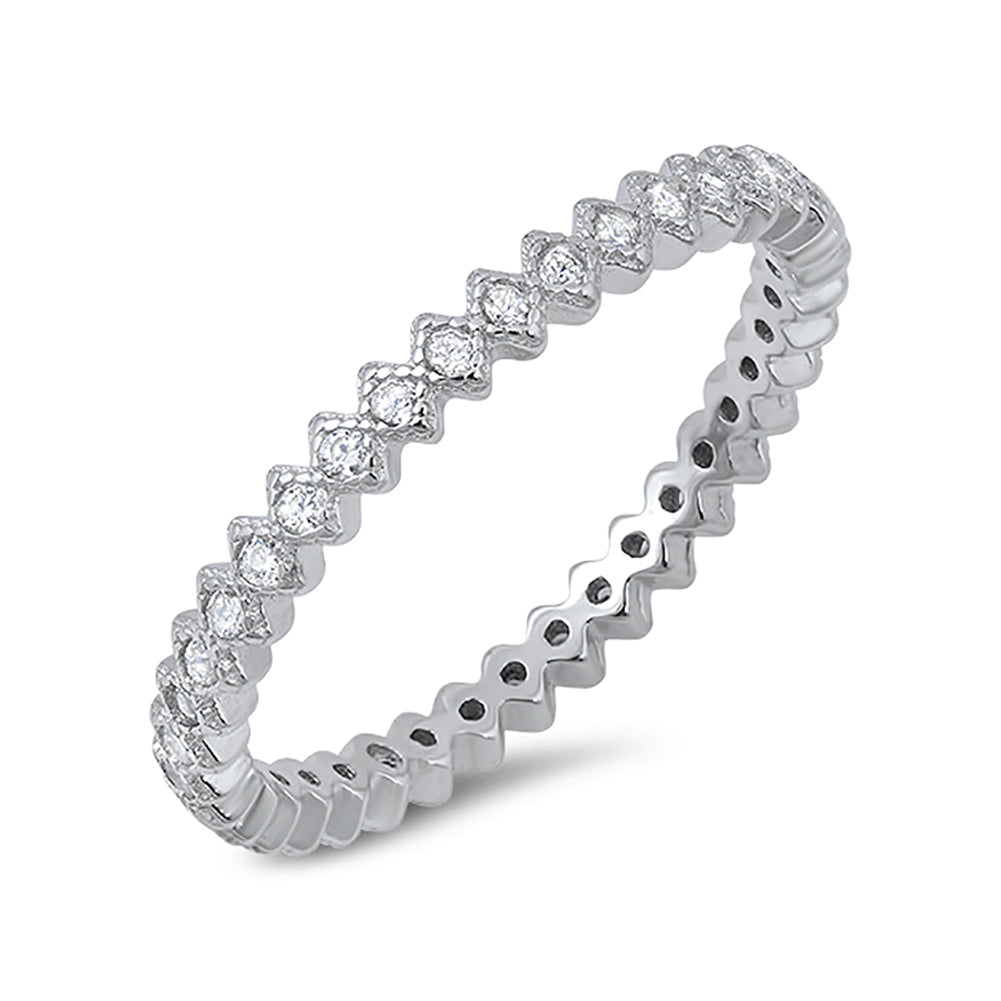 eternity wedding band ring 925 sterling silver round cz choose color