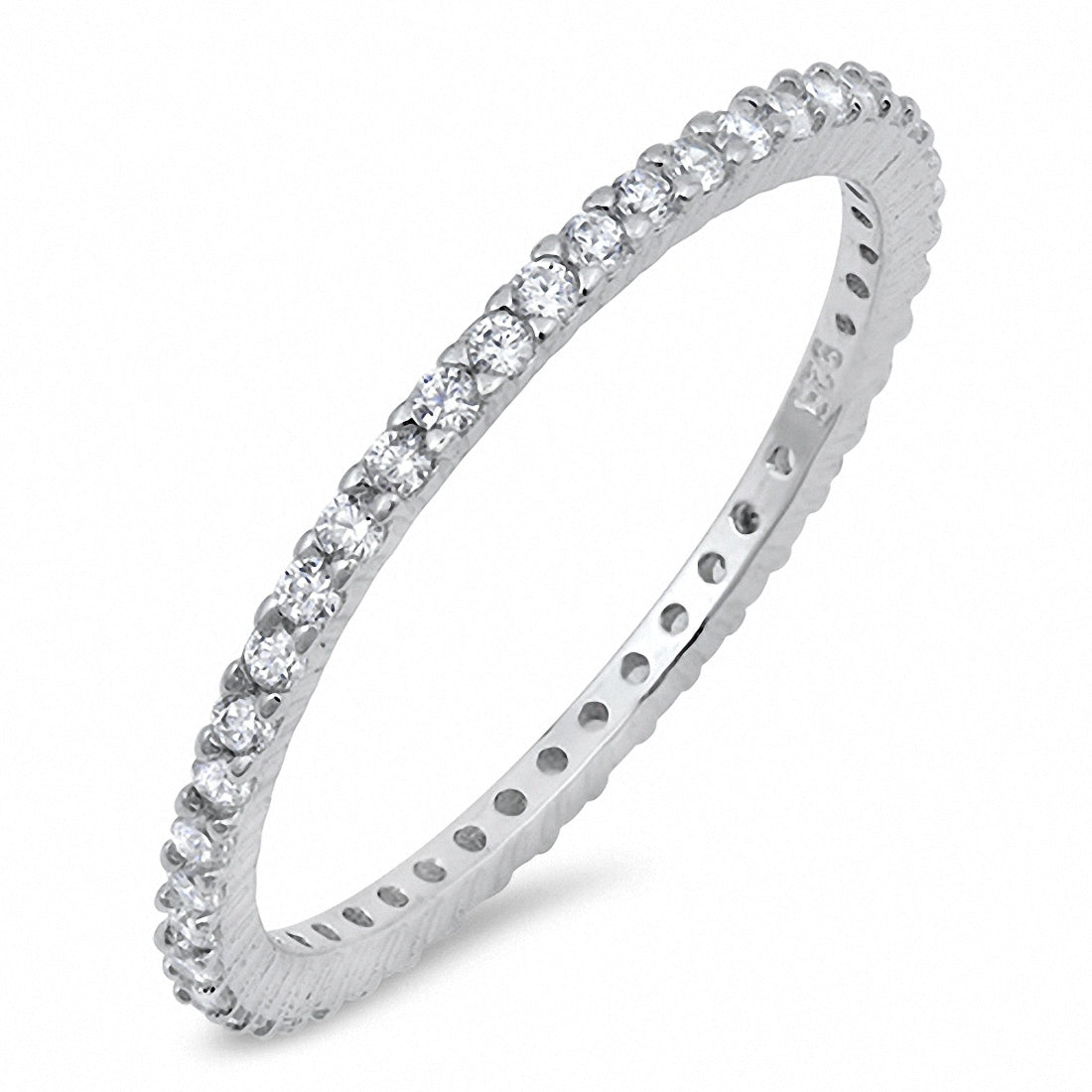 Full Bands: 1.5mm Stackable Band Ring Full Eternity CZ 925 Sterling