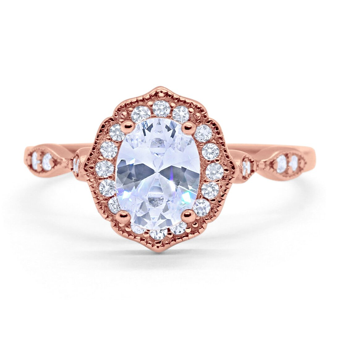 Art-Deco-Antique-Style-Wedding-Ring-Oval-CZ-925-Sterling-Silver-Choose-Color