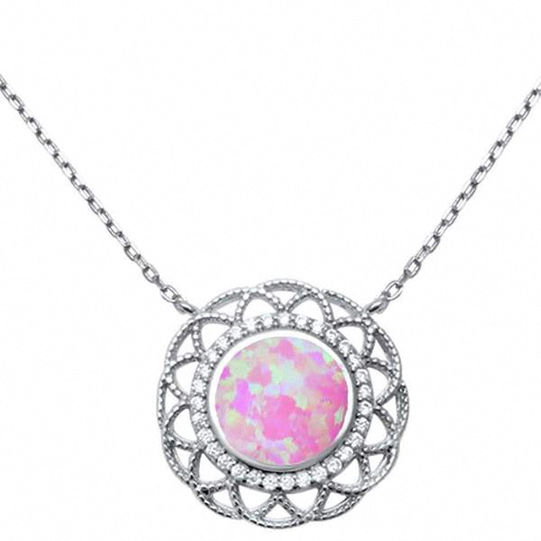18-034-Necklace-Pendant-Filigree-Design-Lab-Opal-Round-Simulated-CZ-Sterling-Silver