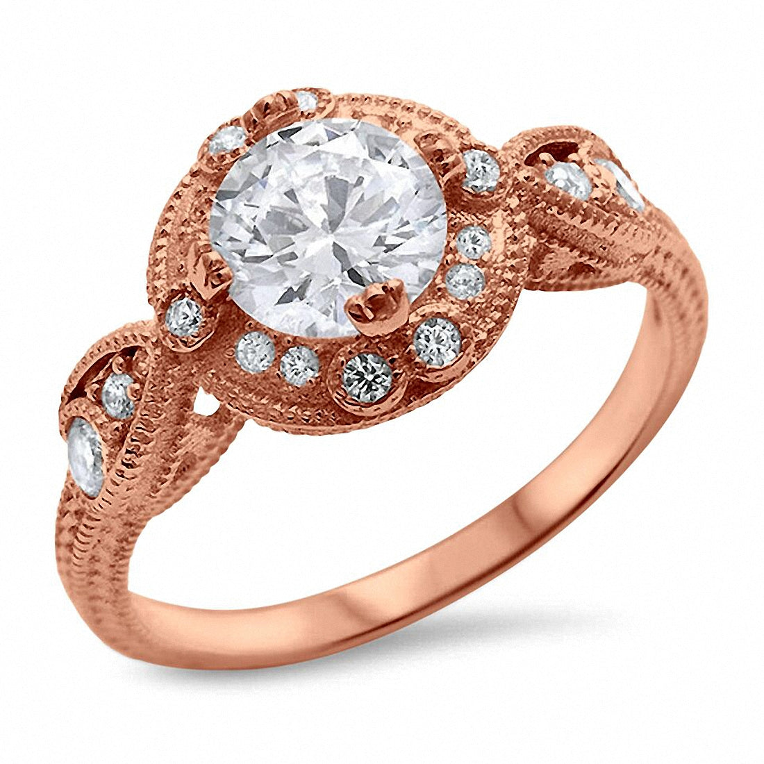 Art Deco Design Solitaire Wedding Ring CZ 925 Sterling