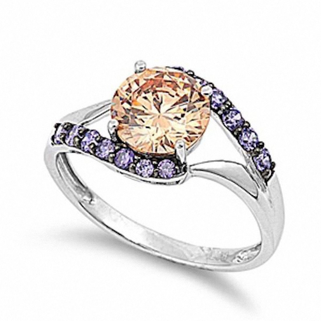 Solid 925 Sterling Silver Beautiful 2.50 Carat Round Amber Amethyst Fashion Ladies Promise Ring Lovely Gift Size 2-14