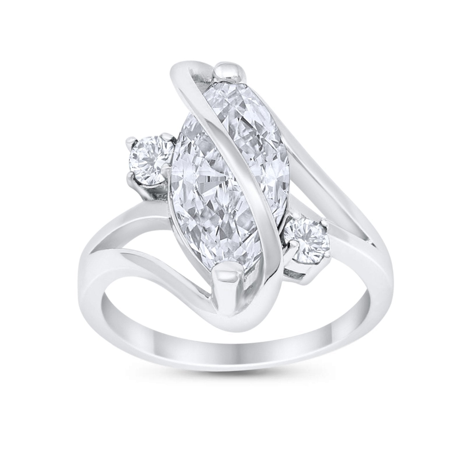 Swirl Fashion Ring Marquise Round Simulated Cubic Zirconia 925 Sterling Silver