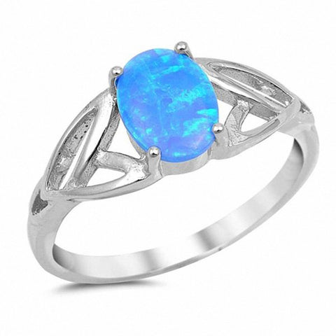 Solitaire Oval Celtic Ring 925 Sterling Silver Choose Color