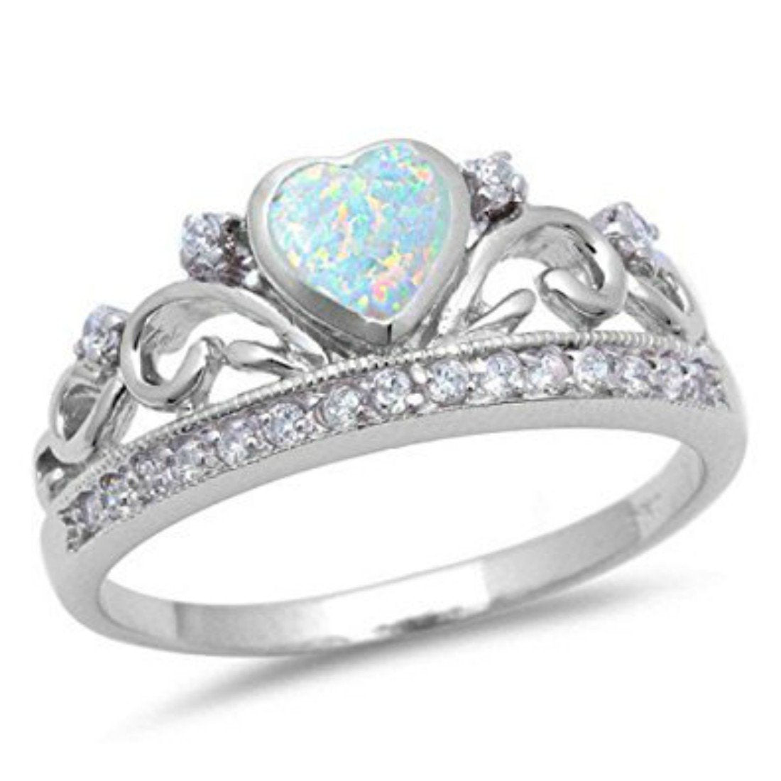Half Eternity Heart Crown Ring White Opal Round Cubic Zirconia Solid 925 Sterling Silver