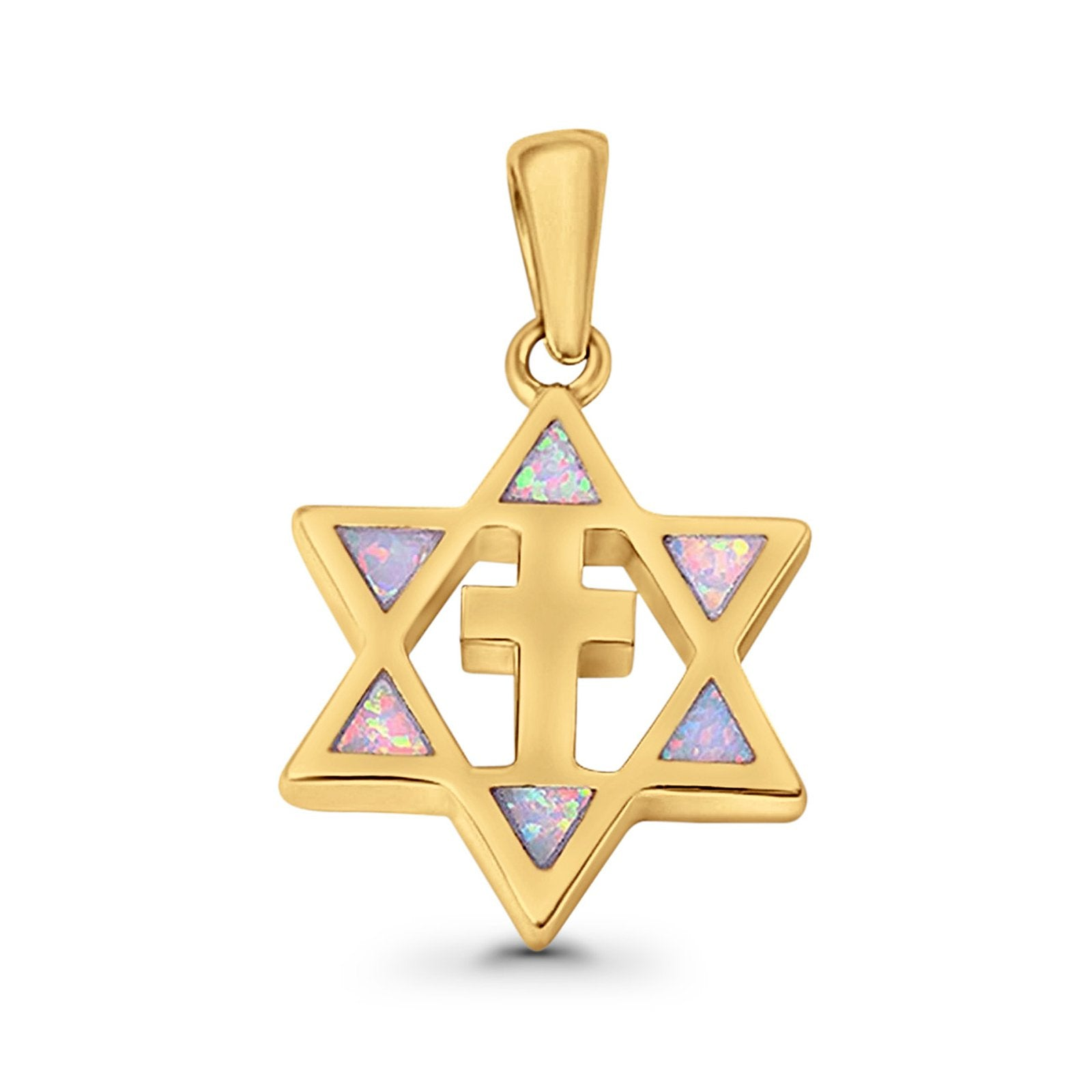 Cross Star of David Pendant Lab Created Opal 925 Sterling Silver
