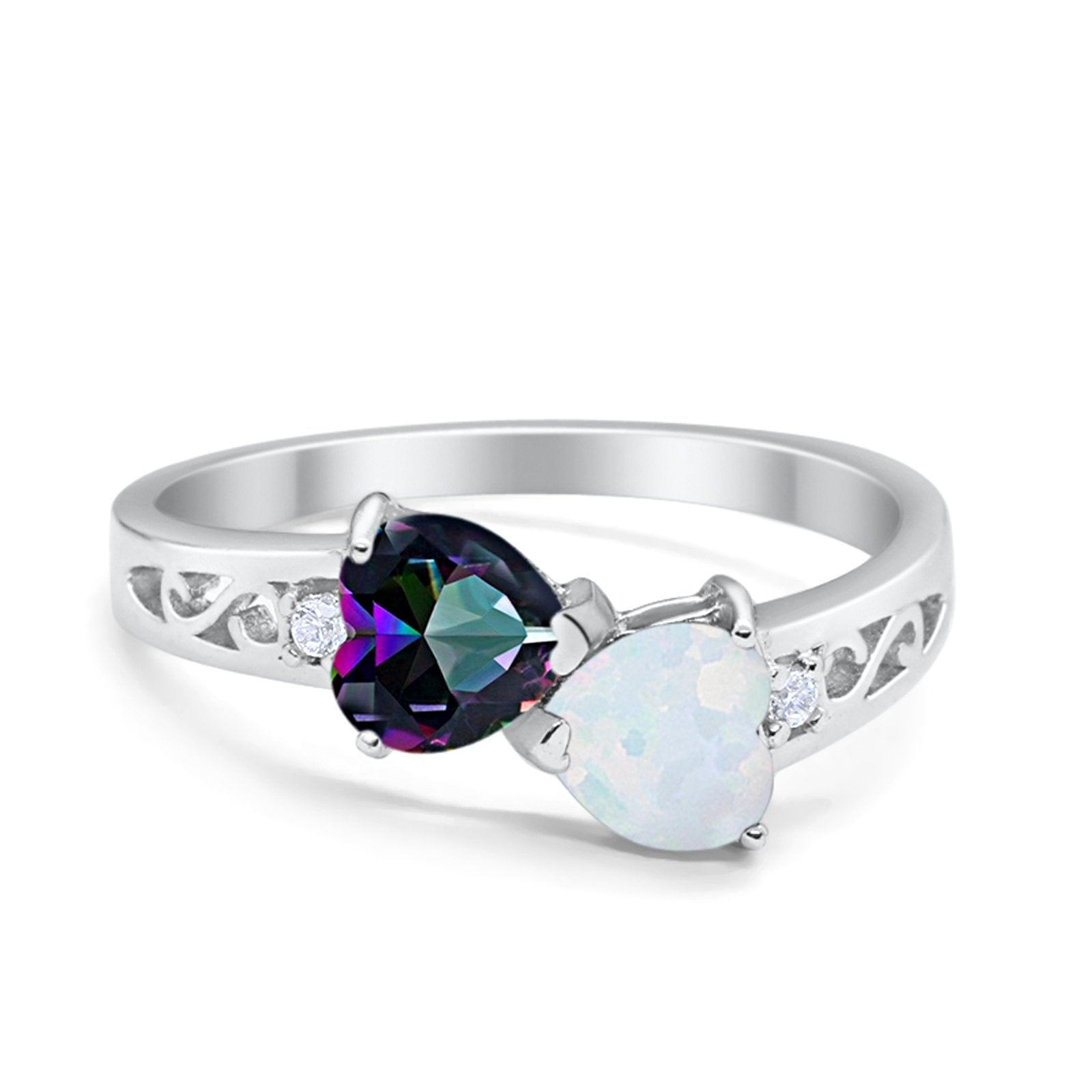 Heart Filigree Ring Round Cubic Zirconia 925 Sterling Silver Created White Opal