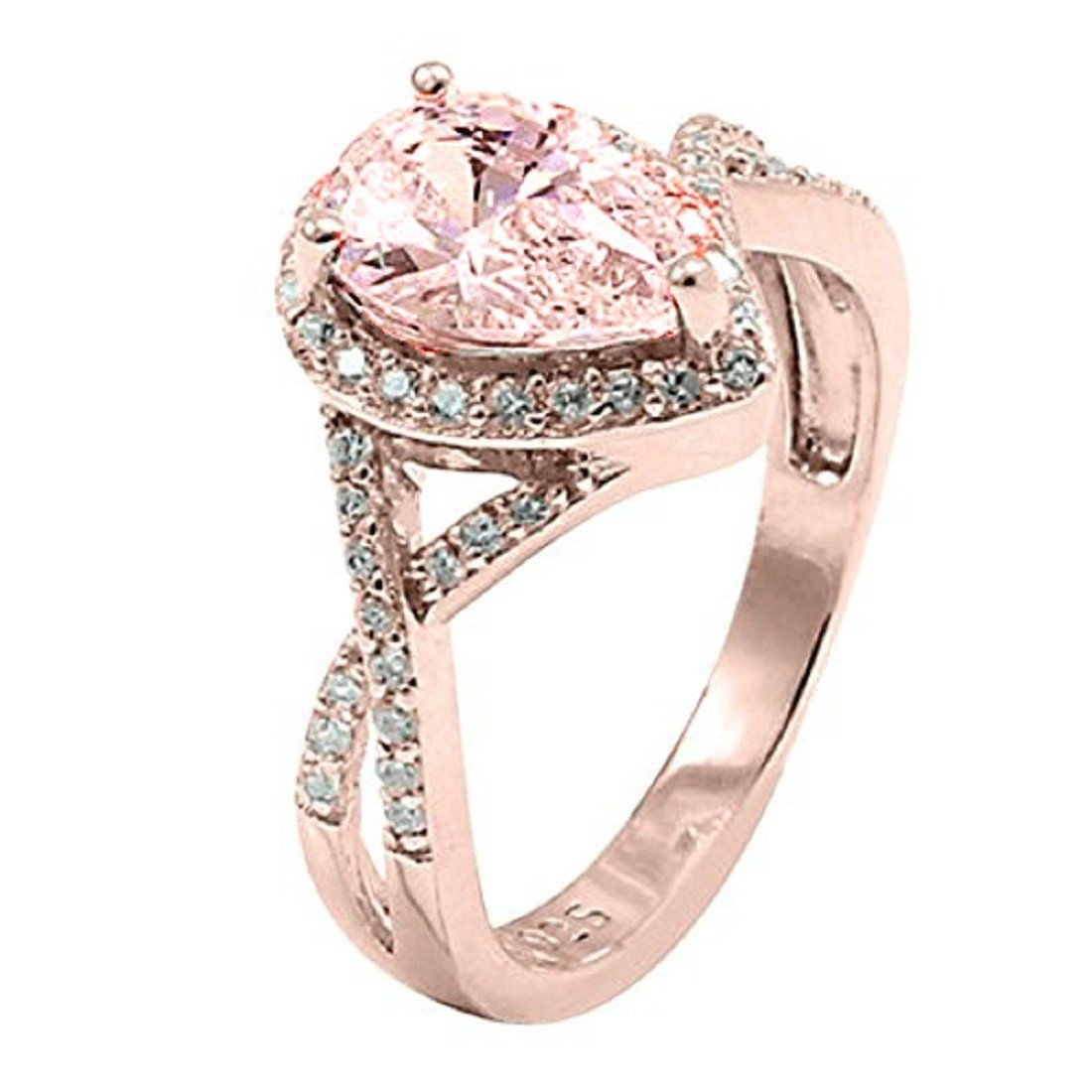 Pear Simulated Morganite Cubic Zirconia Infinity Halo Teardrop Round Engagement Ring Rose Gold Plated 925 Sterling Silver