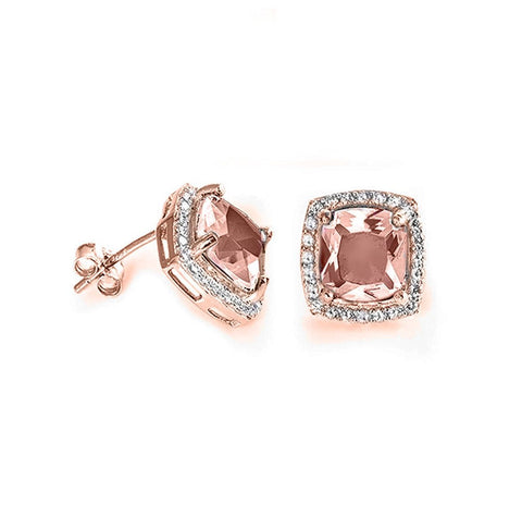 Halo Cushion Cut Simulated Morganite Round CZ Rose Gold Plated Sterling Silver