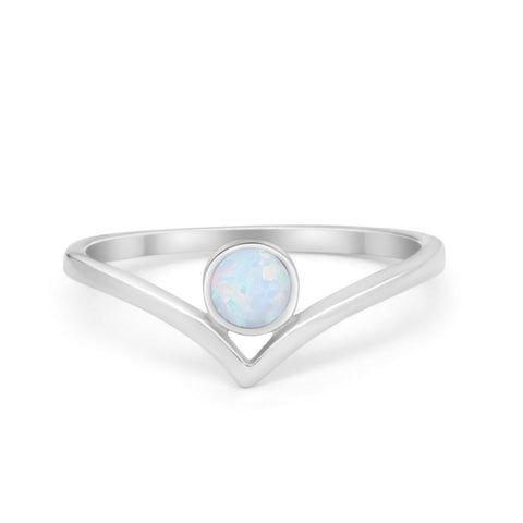 Chevron Midi Thumb Ring Band Round Created Opal 925 Sterling Silver