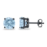 Butterfly Back 4 Prong Round Casting Cubic Zirconia Stud Earrings Black Tone 925 Sterling Silver 3mm-9mm Choose Size
