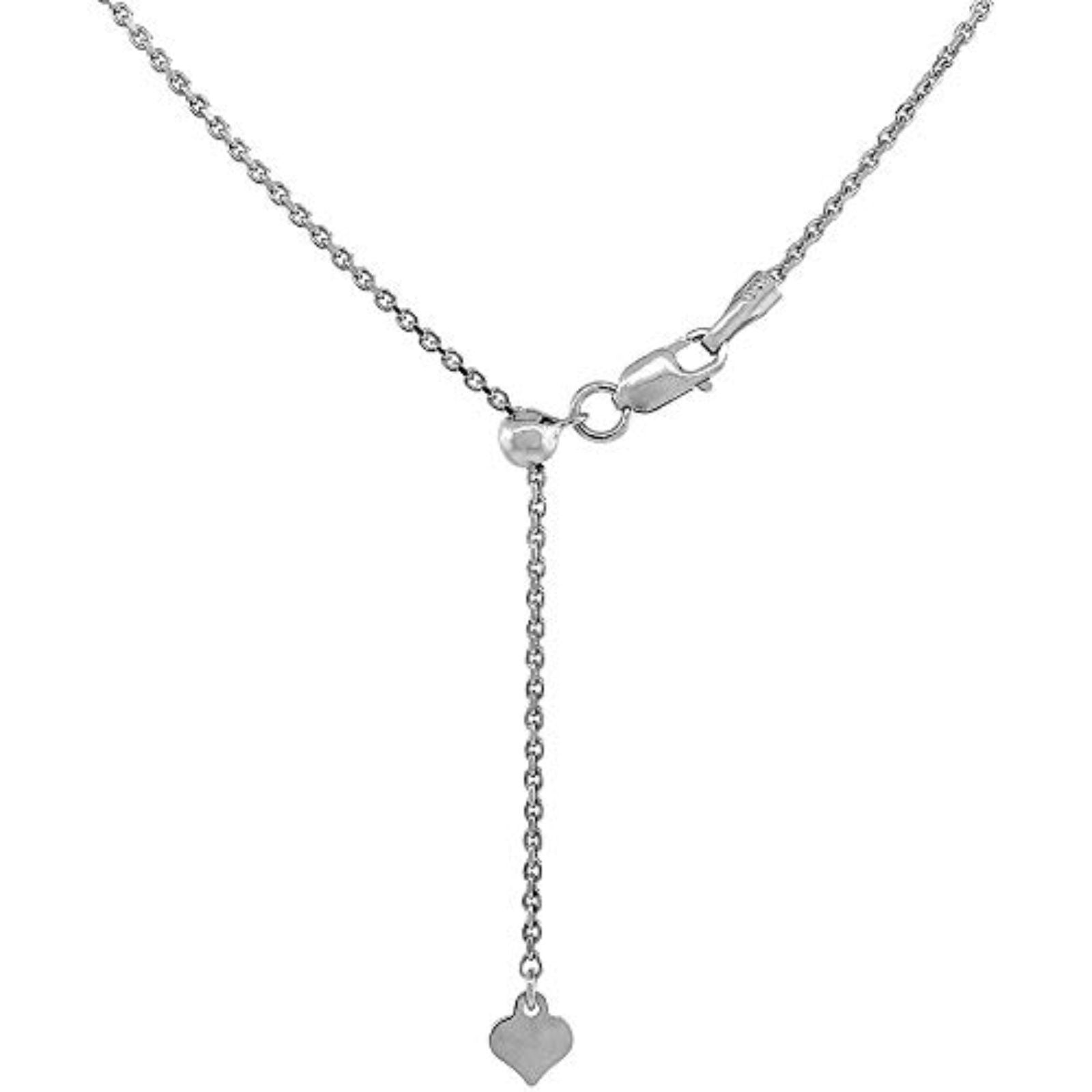 .6MM Adjustable Cable Rhodium Chain .925 Sterling Silver Sizes -22""