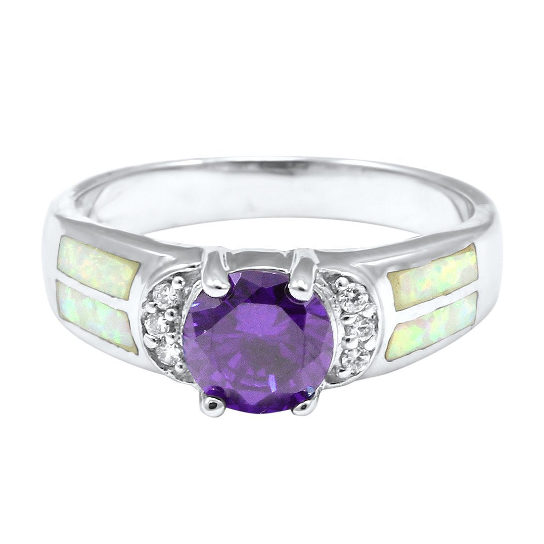 Fashion Ring Round Simulated Colored Cubic Zirconia Lab Created White Opal Accent 925 Sterling Silver Choose Color