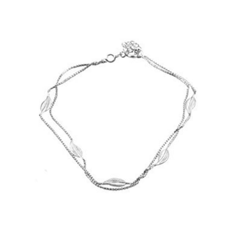 "Leaf Anklet Bracelet Double Chain 925 Sterling Silver 9""+1"" Extension"