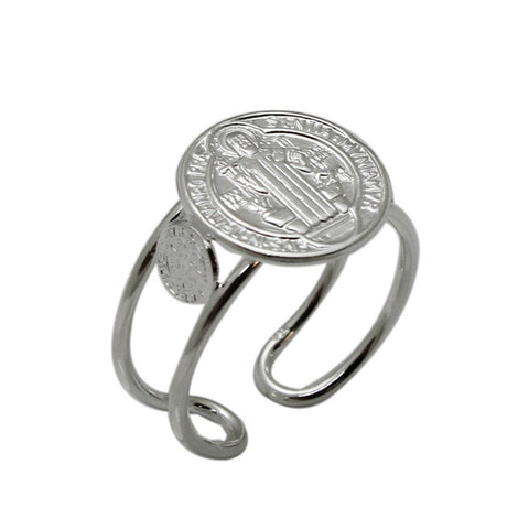 San Benito Cuff Ring 925 Sterling Silver San Benito St. Benedict Religious Adjustable Ring