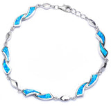 Fashion Twist Design Bracelet Lab Created Opal 925 Sterling Silver