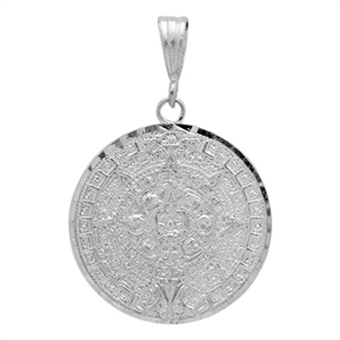 Aztec Calendar Pendant 925 Sterling Silver Diamond Cut charm 28mm Long-Blue Apple Jewelary