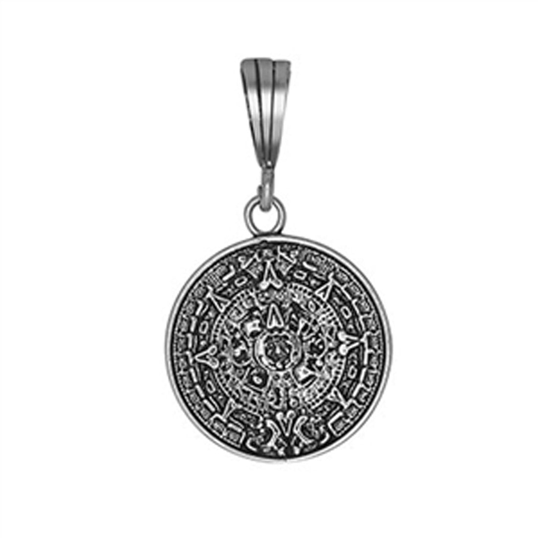 Aztec Calendar Pendant  925 Sterling Silver Oxidize charm 19mm Long-Blue Apple Jewelary