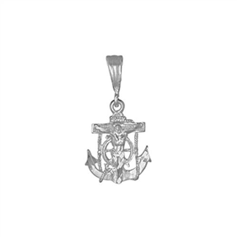 Anchor W Jesus Pendant 925 Sterling Silver Diamond Cut charm 20mm Long-Blue Apple Jewelary