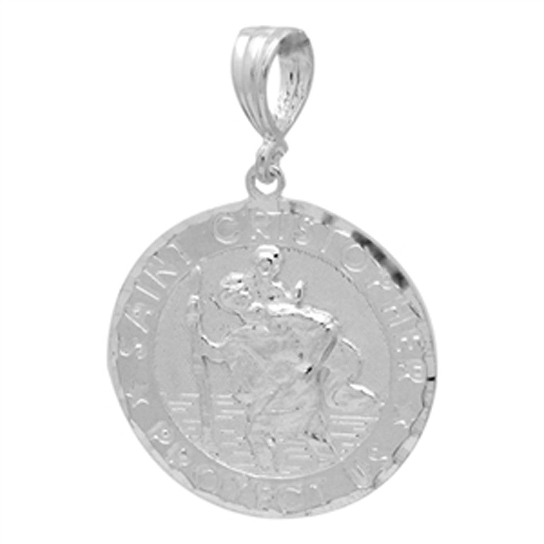 Saint Cristopher Pendant 925 Sterling Silver Diamond Cut charm 27mm Long-Blue Apple Jewelary