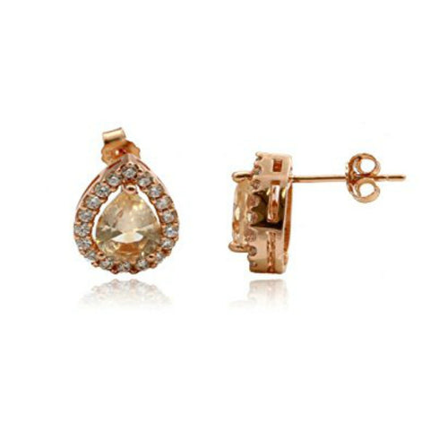 Halo Teardrop Earrings Simulated Morganite Round Cubic Zirconia Rose Gold Rhodium Plated 925 Sterling Silver
