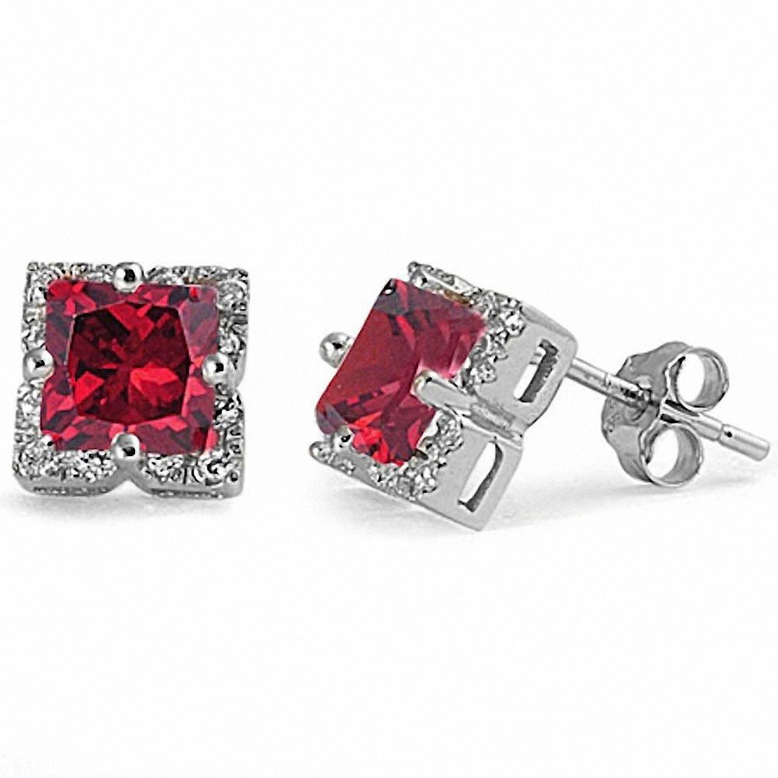 Halo Stud Earrings Princess Cut Simulated Stone Round Cubic Zirconia 925 Sterling Silver Choose Color