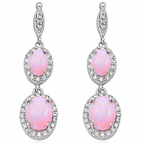 Halo Drop Dangle Chandelier Earring Oval Round Cubic Zirconia 925 Sterling Silver Choose Color