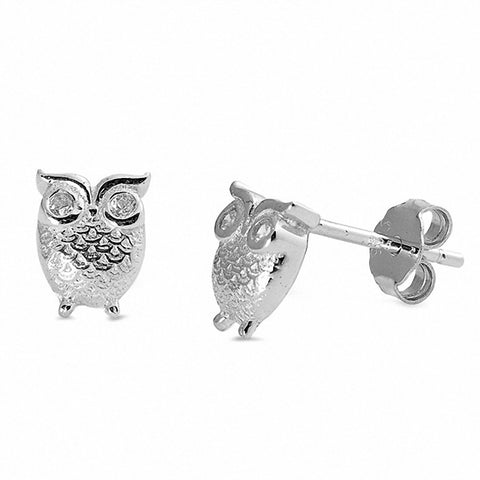 Owl Earrings Round Cubic Zirconia 925 Sterling Silver Choose Color