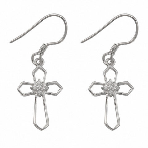 Fish Hook Drop Dangle Cross Earrings 925 Sterling Silver Round Cubic Zirconia Choose Color