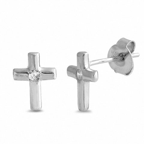 925 Sterling Silver Cross Stud Earrings Round Cubic Zirconia Choose Color