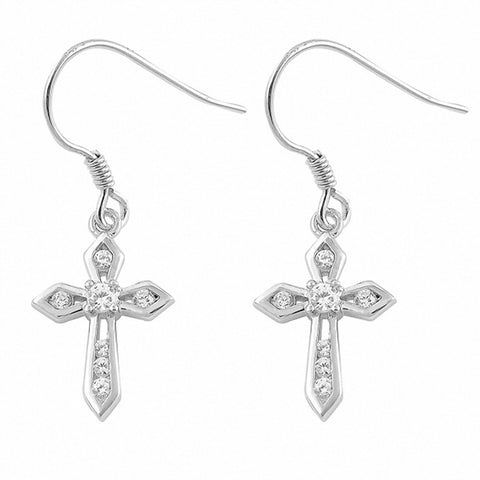 Cross Drop & Dangle Fish Hook Earrings Round Cubic Zirconia 925 Sterling Silver Choose Color