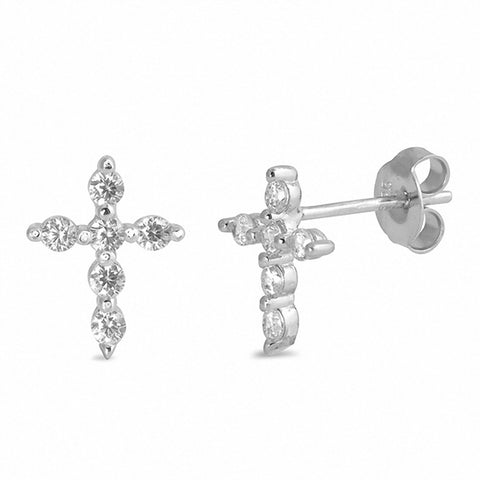 Cross Stud Earrings 925 Sterling Silver Round Cubic Zirconia Choose Color
