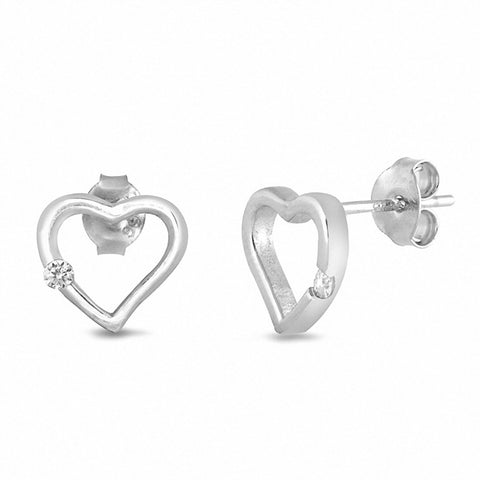 Heart Stud Earrings Round Cubic Zirconia 925 Sterling Silver Chose Color