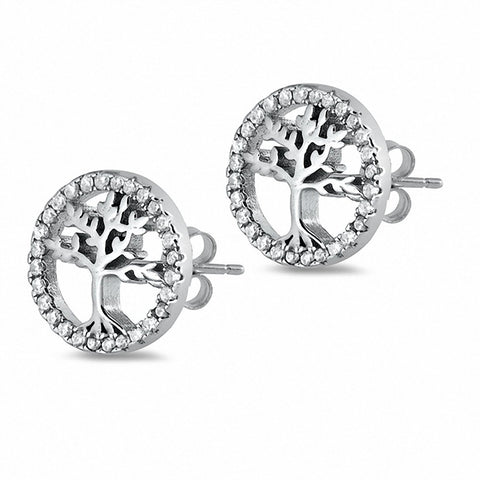 Tree of Life Stud Earrings Solid Round Cubic Zirconia 925 Sterling Silver Chose Color
