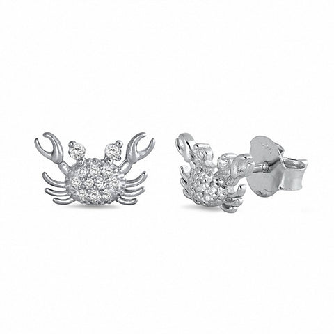 Crab Stud Earrings Round Pave Cubic Zirconia 925 Sterling Silver Chose Color
