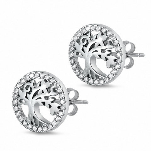 Tree of Life Stud Earrings Round Cubic Zirconia 925 Sterling Silver Chose Color