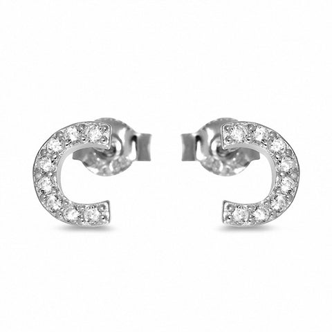 Fashion Curve Stud Earrings Round Cubic Zirconia 925 Sterling Silver Chose Color