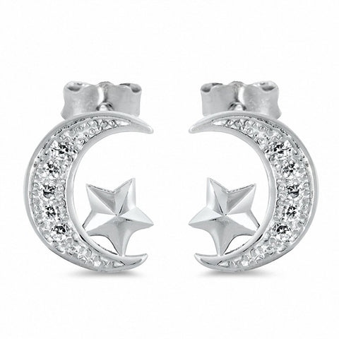 Moon Star Stud Earrings Solid 925 Sterling Silver Chose Color